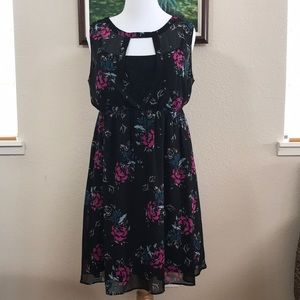 Torrid floral chiffon skater dress